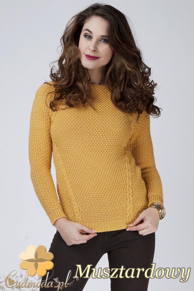 CM1272 Damski sweter z raglowanym rękawem - musztardowy