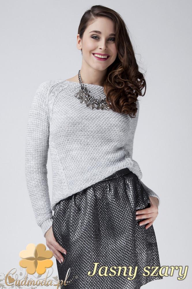 CM1272 Damski sweter z raglowanym rękawem - jasny szary