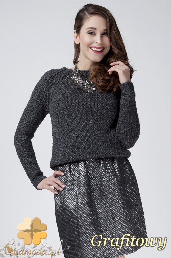 CM1272 Damski sweter z raglowanym rękawem - grafitowy
