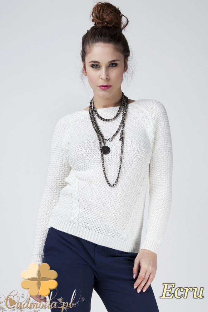 CM1272 Damski sweter z raglowanym rękawem - ecru