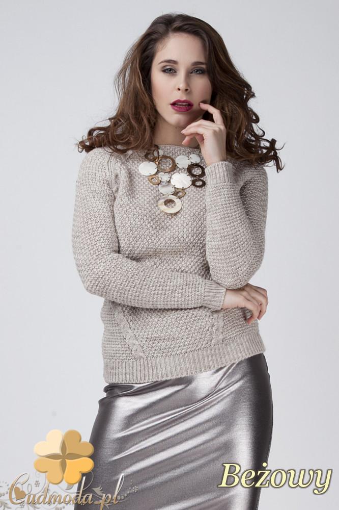 CM1272 Damski sweter z raglowanym rękawem - beżowy