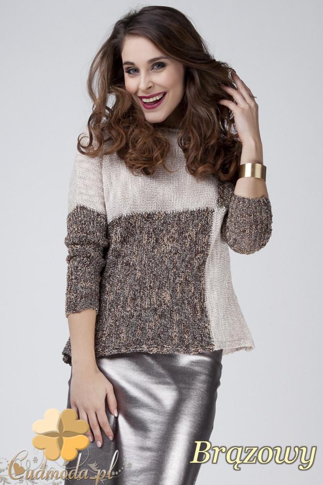 CM1273 Ciepły geometryczny sweter damski - bršzowy