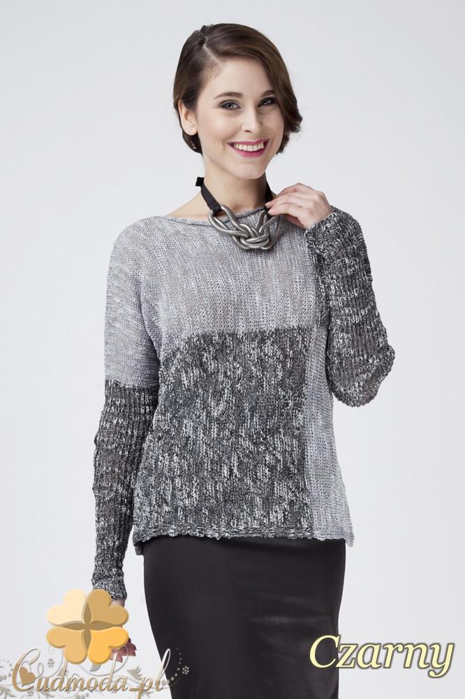 CM1273 Ciepły geometryczny sweter damski - czarny