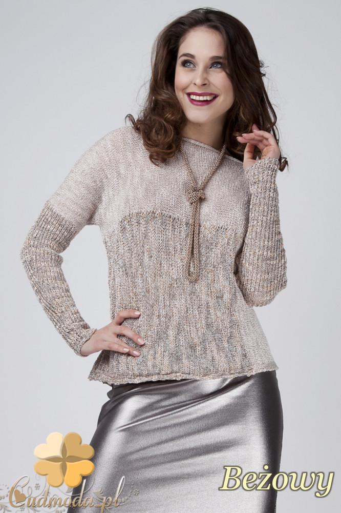 CM1273 Ciepły geometryczny sweter damski - beżowy