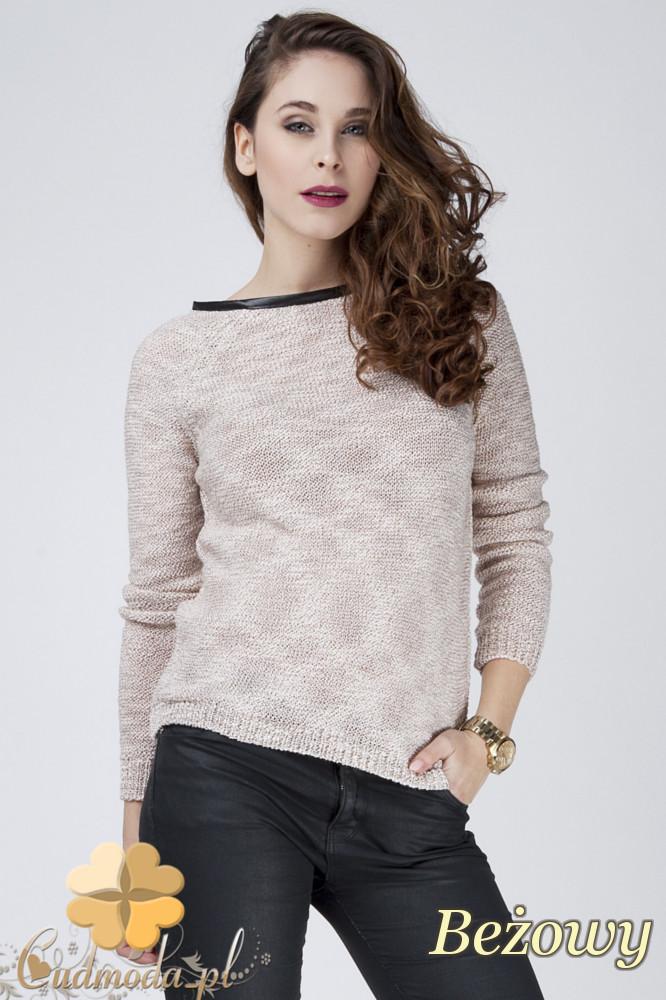 CM1274 Ocieplany sweterek damski z lamówkš - beżowy