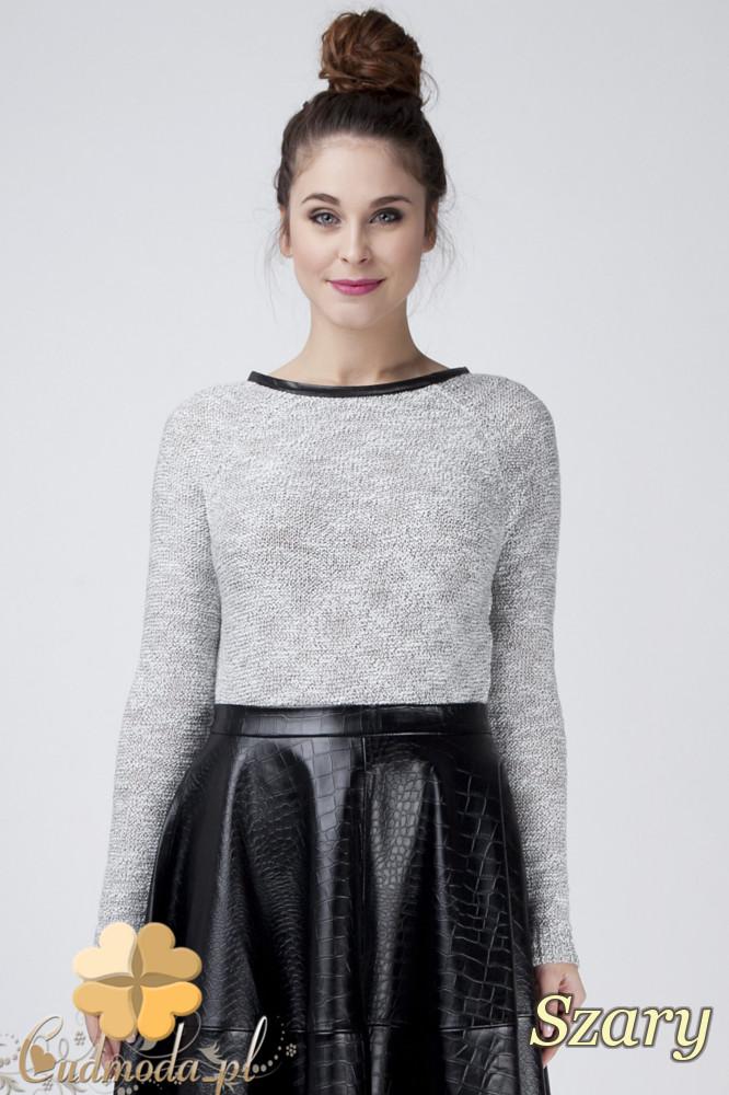 CM1274 Ocieplany sweterek damski z lamówkš - szary