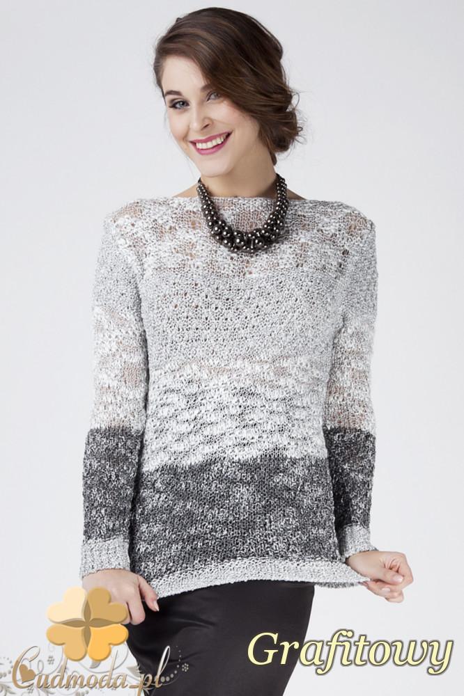 CM1275 Elegancki blokowy sweter damski - grafitowy