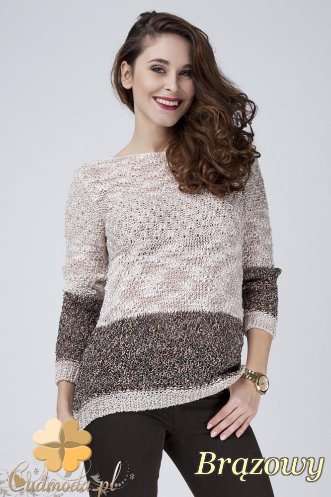 CM1275 Elegancki blokowy sweter damski - bršzowy