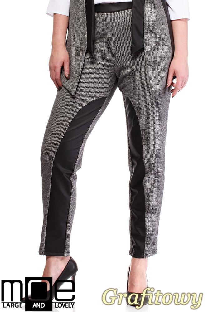 CM1320 Damskie spodnie bryczesy ze wstawkami z eko-skóry 44-52 - grafitowe