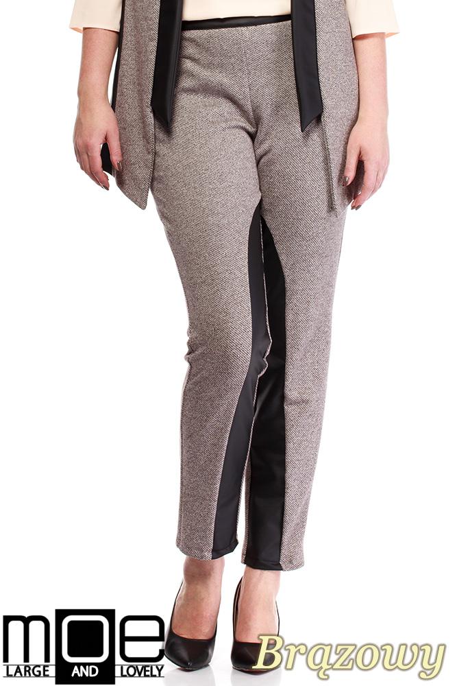 CM1320 Damskie spodnie bryczesy ze wstawkami z eko-skóry 44-52 - bršzowe