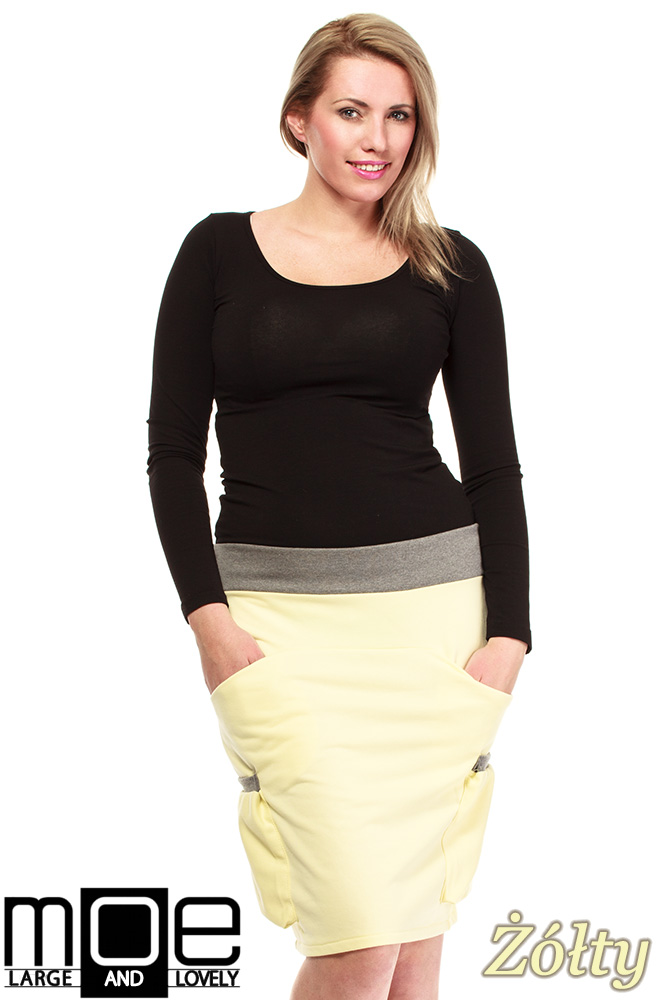 CM1318 Elegancka spódniczka przed kolano 44-52 - żółta