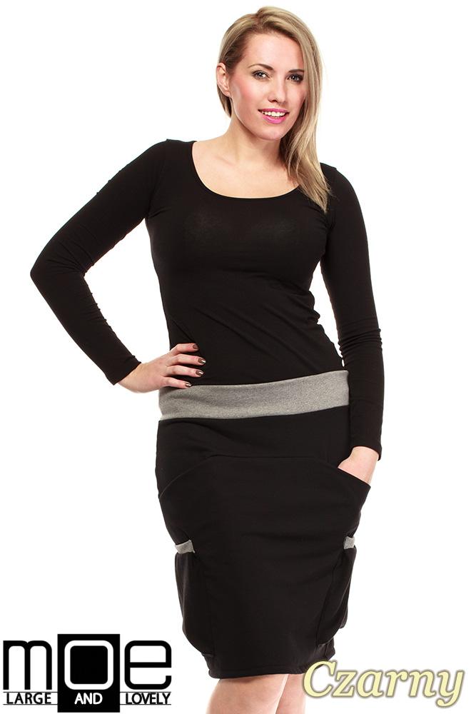 CM1318 Elegancka spódniczka przed kolano 44-52 - czarna
