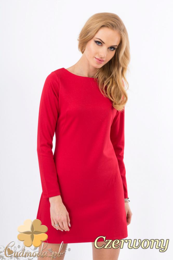 CM1276 Trapezowa sukienka z długim rękawem - czerwona