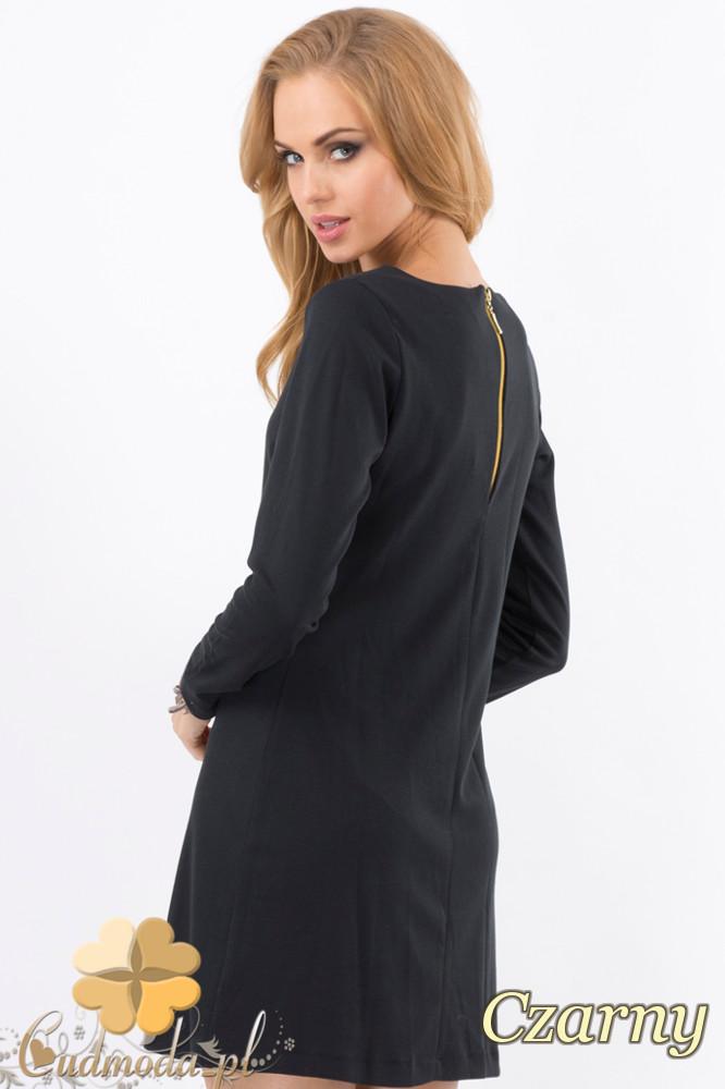 CM1276 Trapezowa sukienka z długim rękawem - czarna