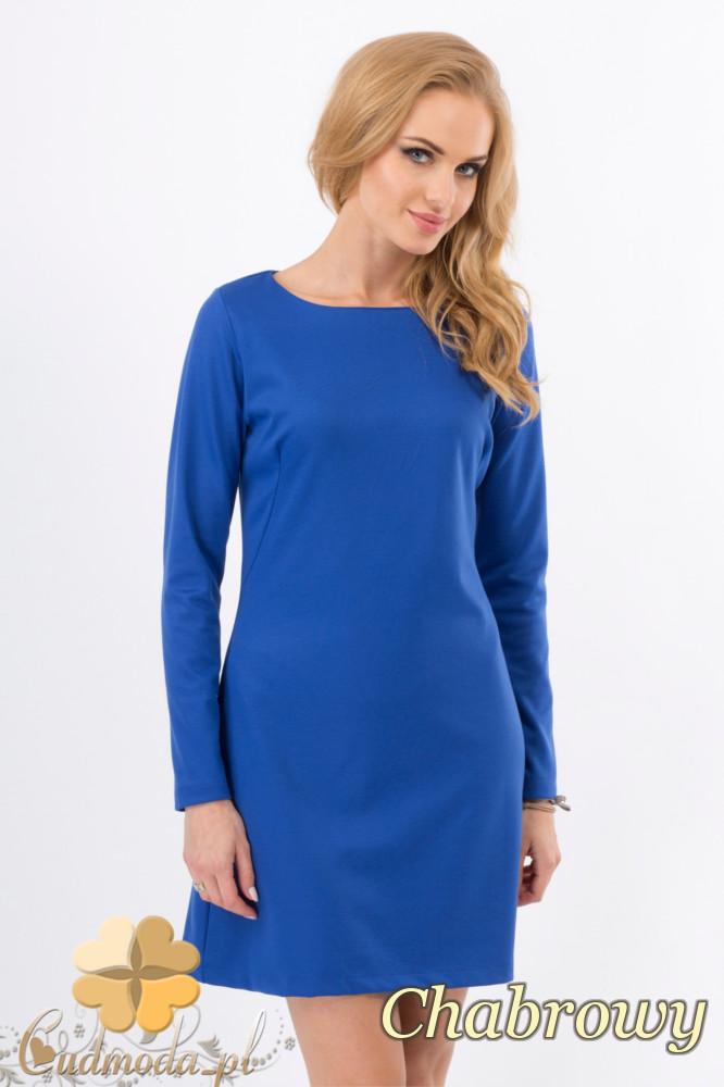 CM1276 Trapezowa sukienka z długim rękawem - chabrowa