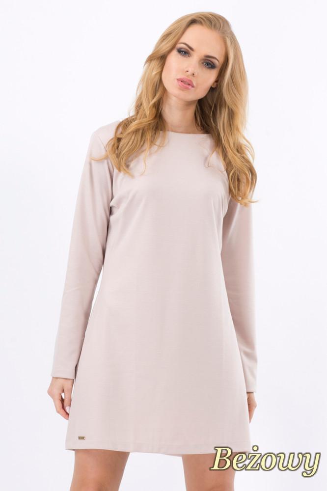 CM1276 Trapezowa sukienka z długim rękawem - beżowa