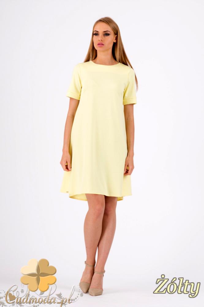 CM1278 Trapezowa sukienka w pastelowych kolorach - żółta