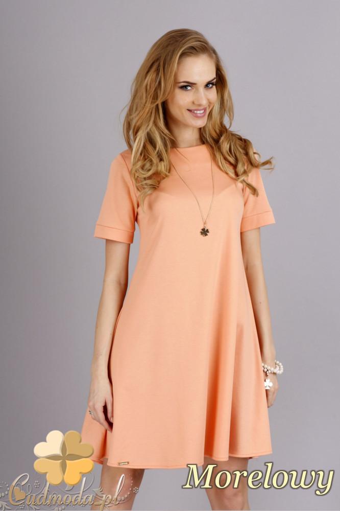 CM1278 Trapezowa sukienka w pastelowych kolorach - morelowa