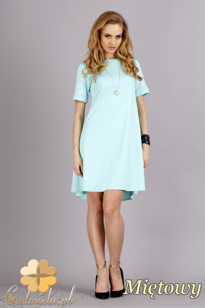CM1278 Trapezowa sukienka w pastelowych kolorach - miętowa
