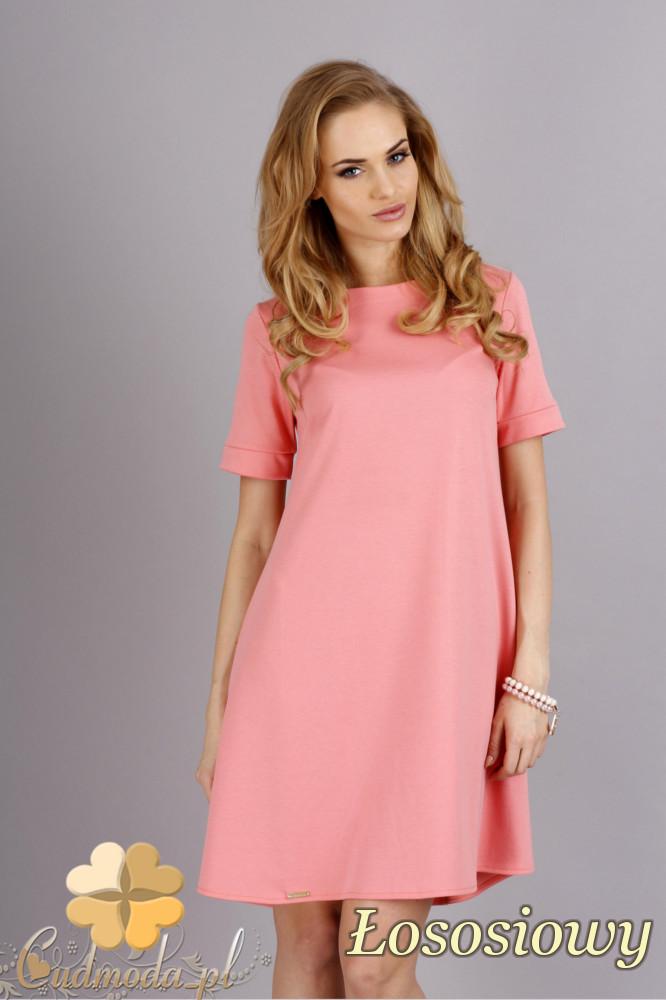 CM1278 Trapezowa sukienka w pastelowych kolorach - łososiowa