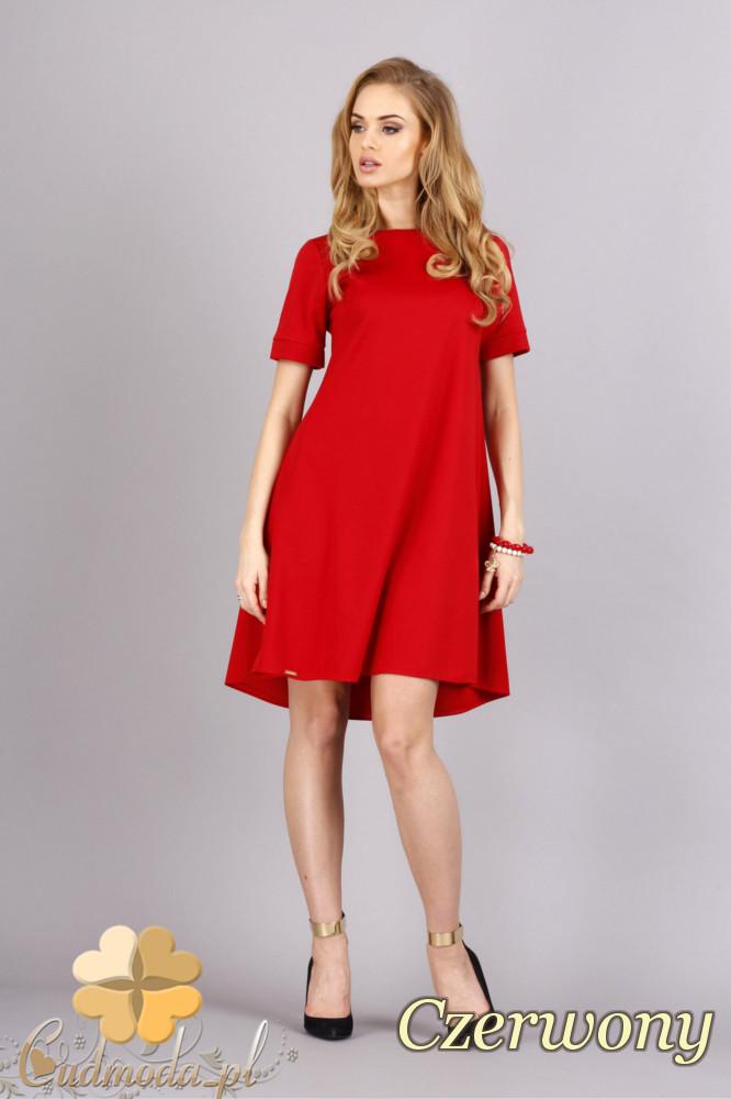 CM1278 Trapezowa sukienka w pastelowych kolorach - czerwona