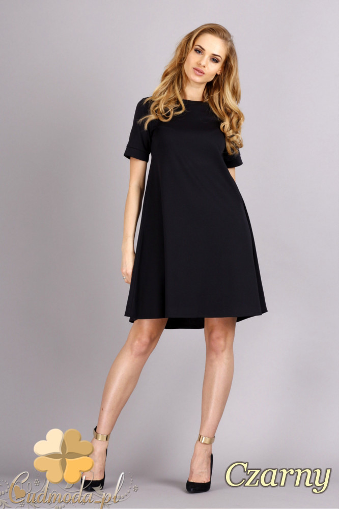 CM1278 Trapezowa sukienka w pastelowych kolorach - czarna
