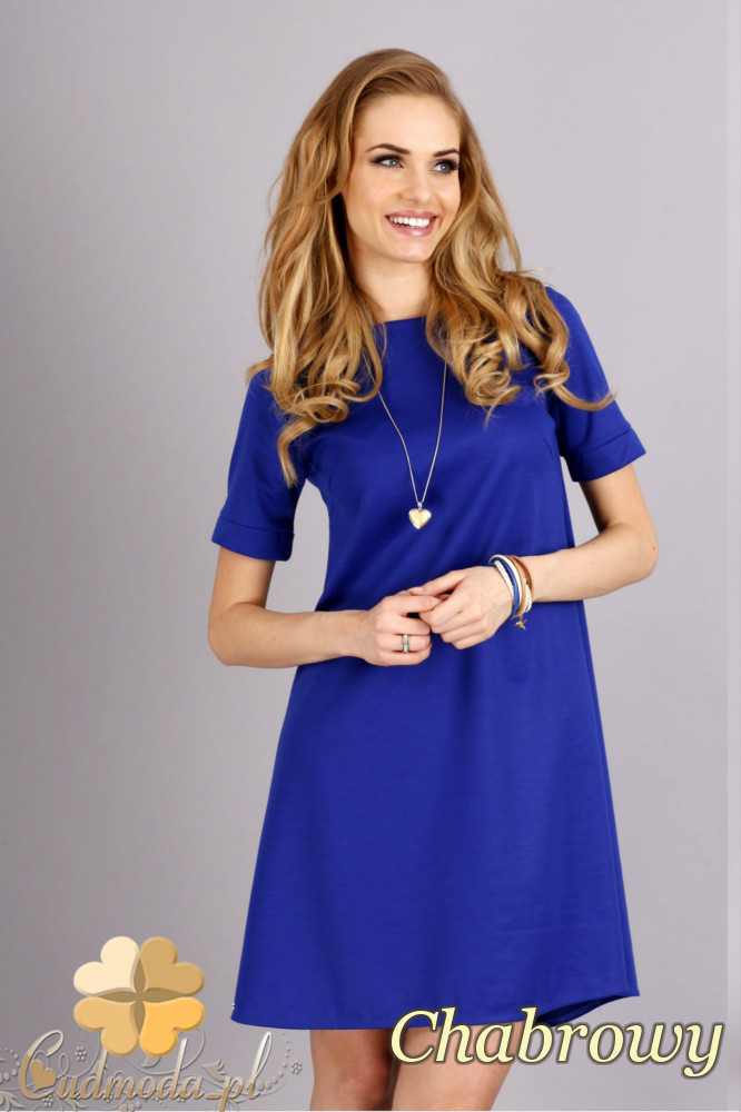 CM1278 Trapezowa sukienka w pastelowych kolorach - chabrowa