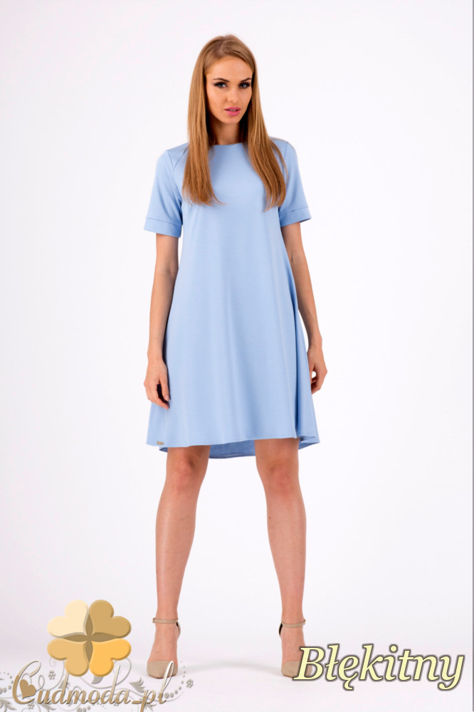 CM1278 Trapezowa sukienka w pastelowych kolorach - błękitna