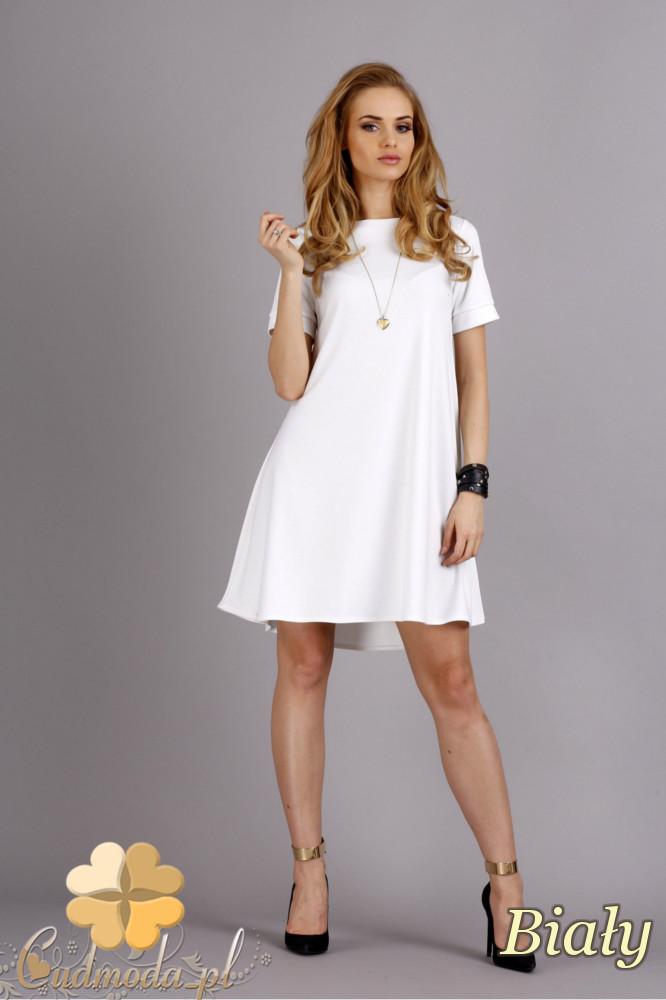 CM1278 Trapezowa sukienka w pastelowych kolorach - biała