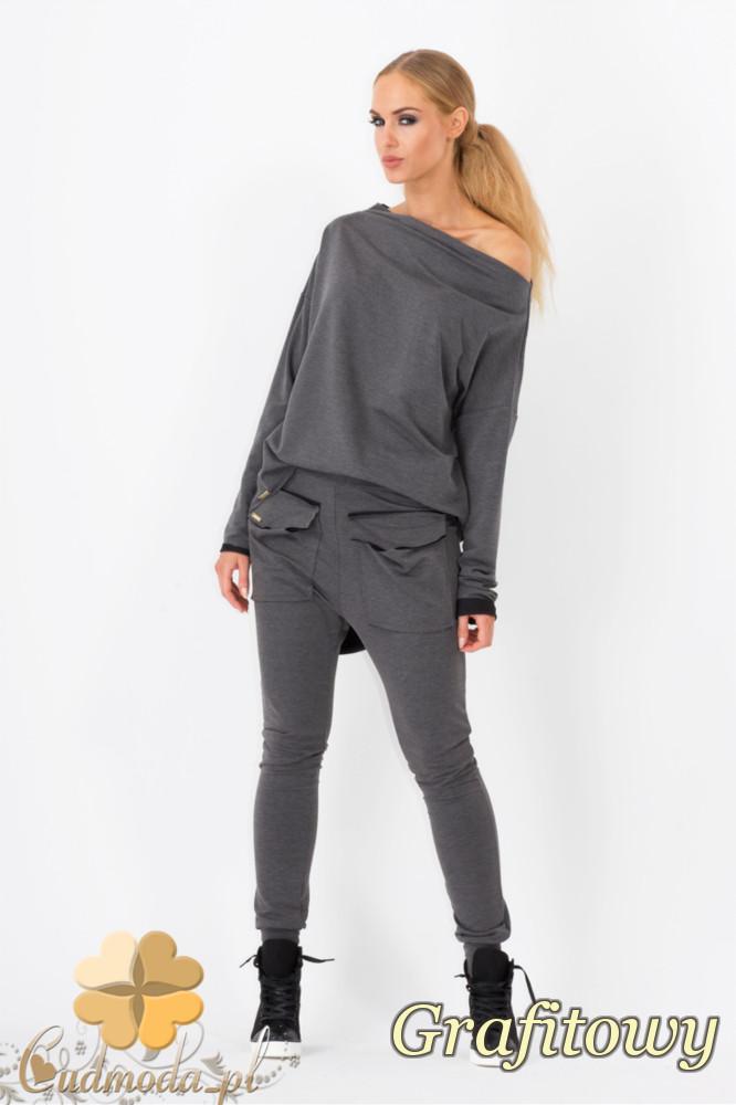 CM1338 Kobiece spodnie z kieszeniami i zwężanymi nogawkami - grafitowe