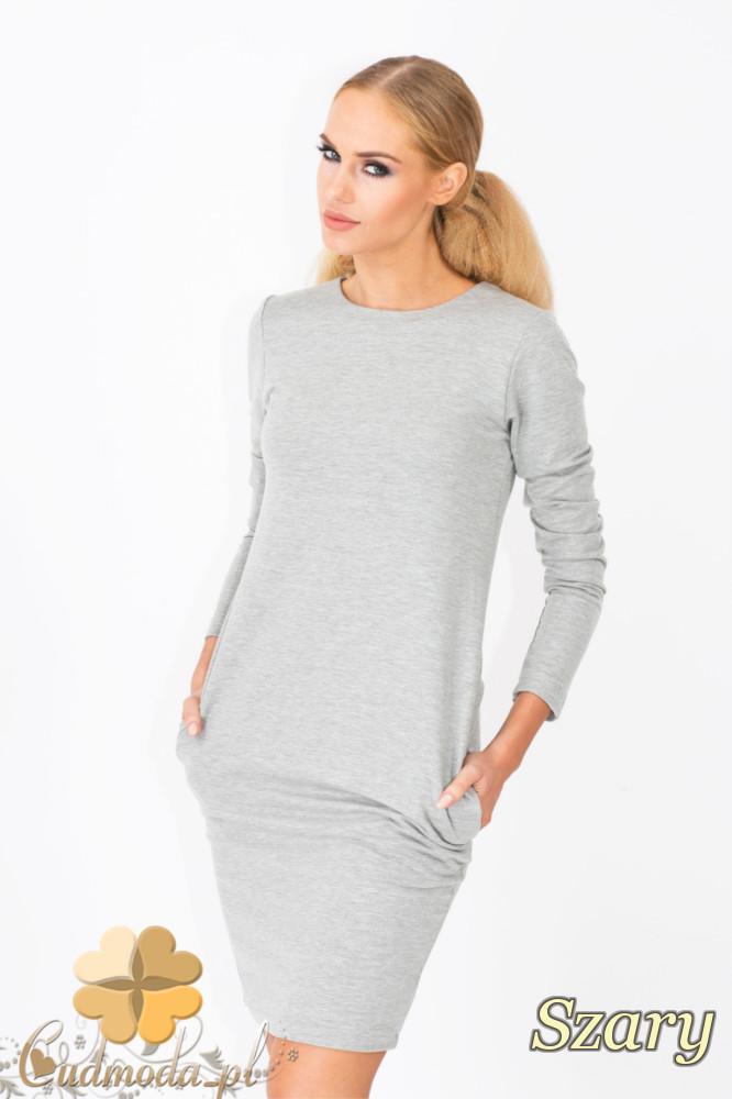CM1339 Modna sukienka damska z długim rękawem - szara