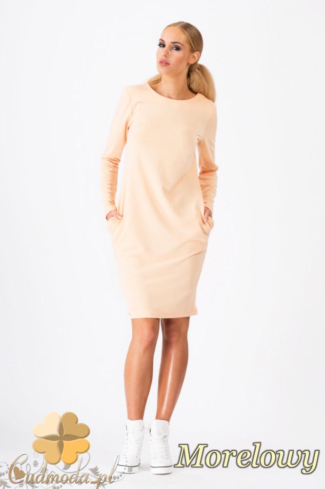 CM1339 Modna sukienka damska z długim rękawem - morelowa