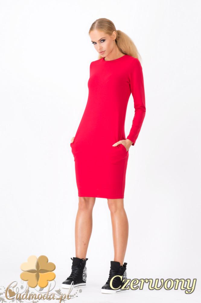 CM1339 Modna sukienka damska z długim rękawem - czerwona