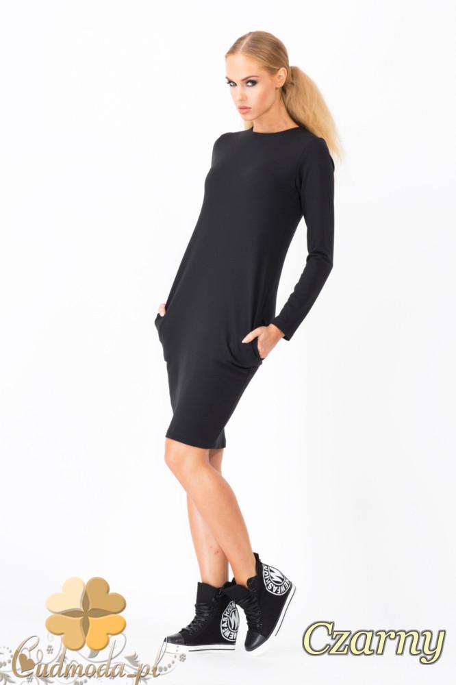 CM1339 Modna sukienka damska z długim rękawem - czarna