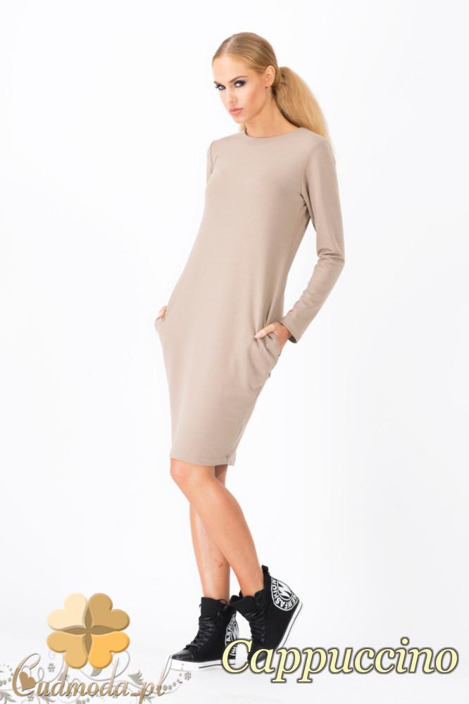 CM1339 Modna sukienka damska z długim rękawem - cappuccino