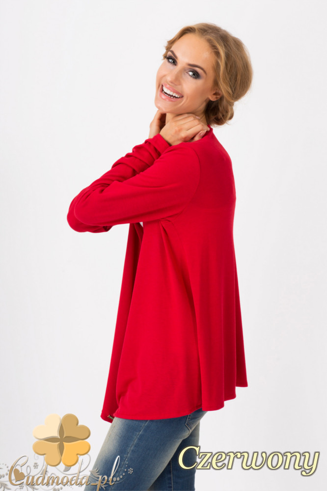 CM1341 LuĹşna narzutka damska z długim rękawem - czerwona