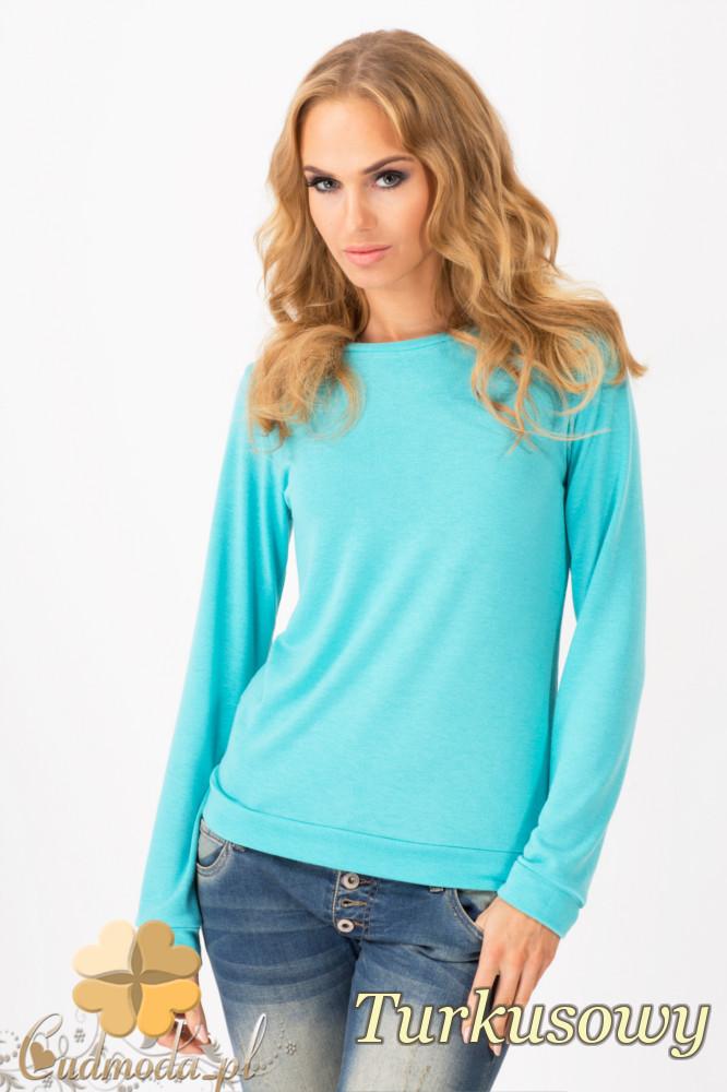 CM1342 Prosty sweterek damski o klasycznym kroju - turkusowy