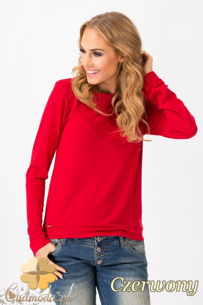 CM1342 Prosty sweterek damski o klasycznym kroju - czerwony
