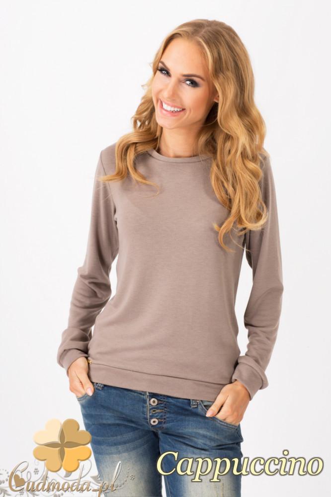 CM1342 Prosty sweterek damski o klasycznym kroju - cappuccino