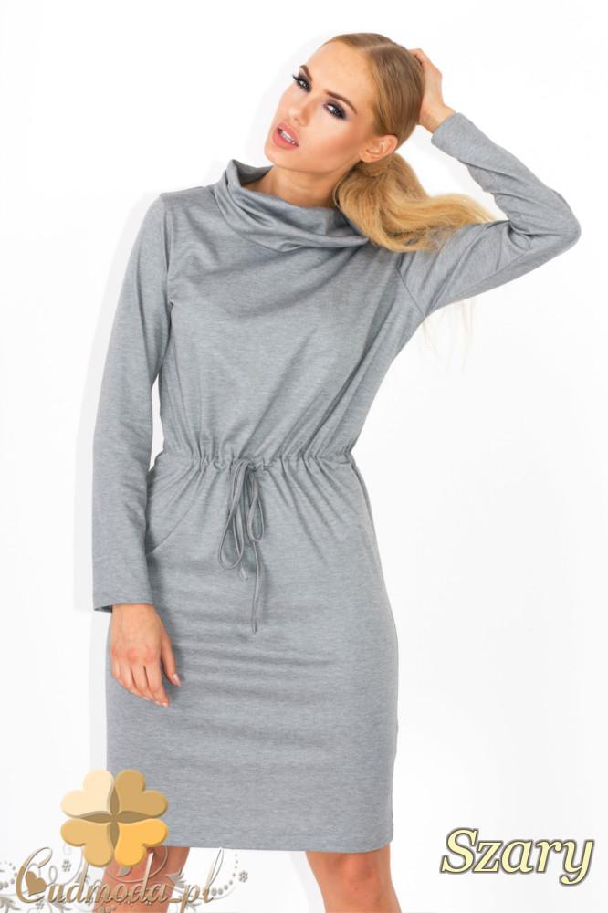 CM1343 Wišzana sukienka z półgolfem - szara