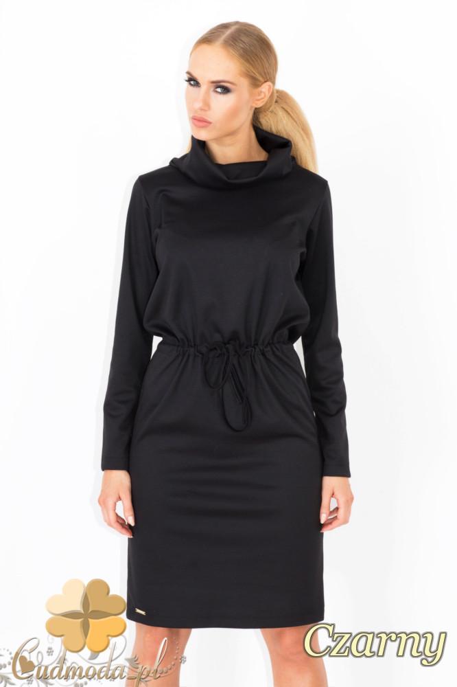 CM1343 Wišzana sukienka z półgolfem - czarna