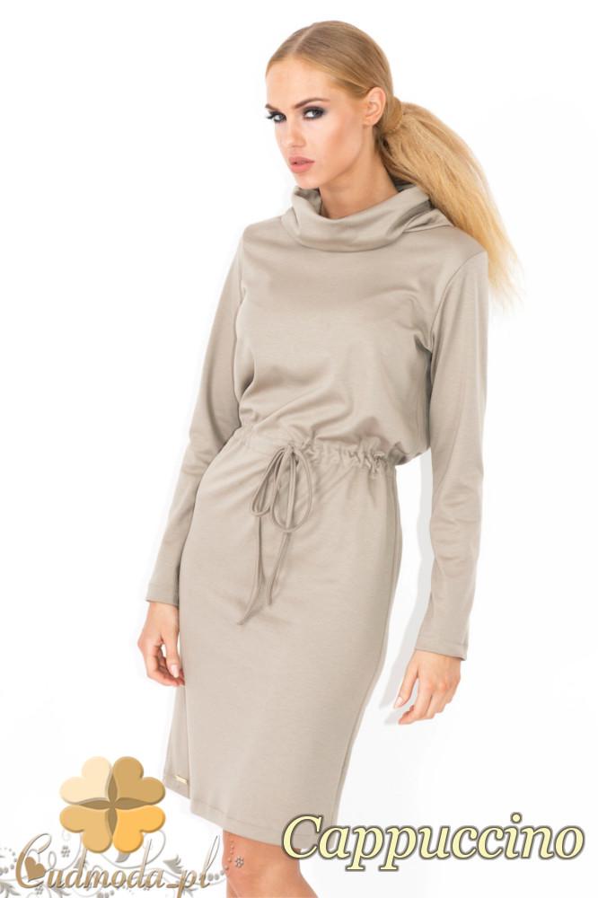 CM1343 Wišzana sukienka z półgolfem - cappuccino