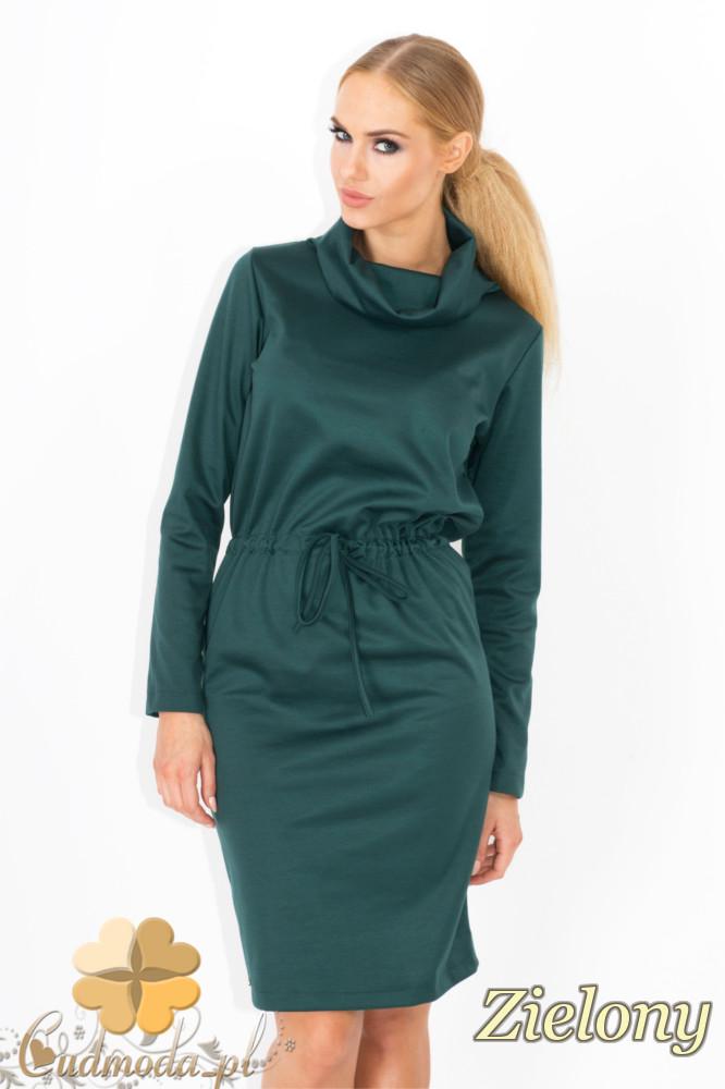 CM1343 Wišzana sukienka z półgolfem - zielona