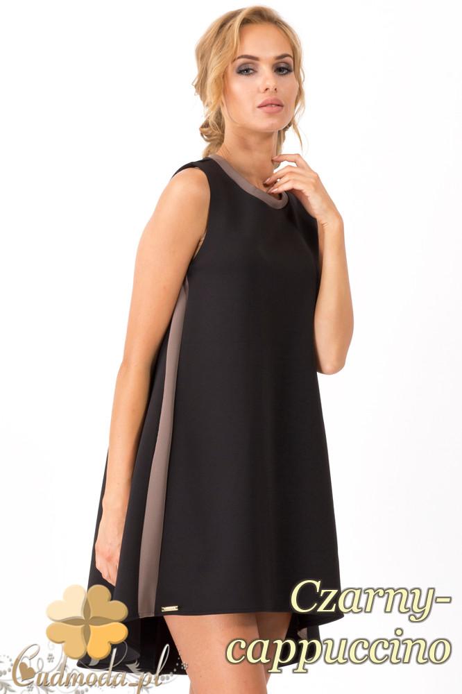 CM1344 LuĹşna, asymetryczna sukienka damska bez rękawów - czarny-cappuccino