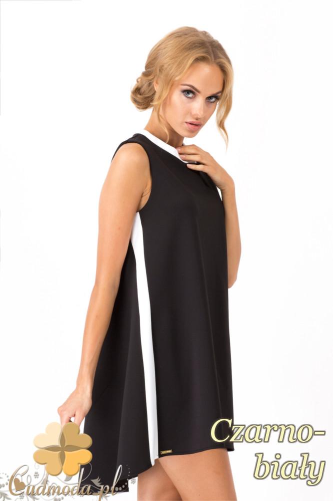 CM1344 LuĹşna, asymetryczna sukienka damska bez rękawów - czarno-biały