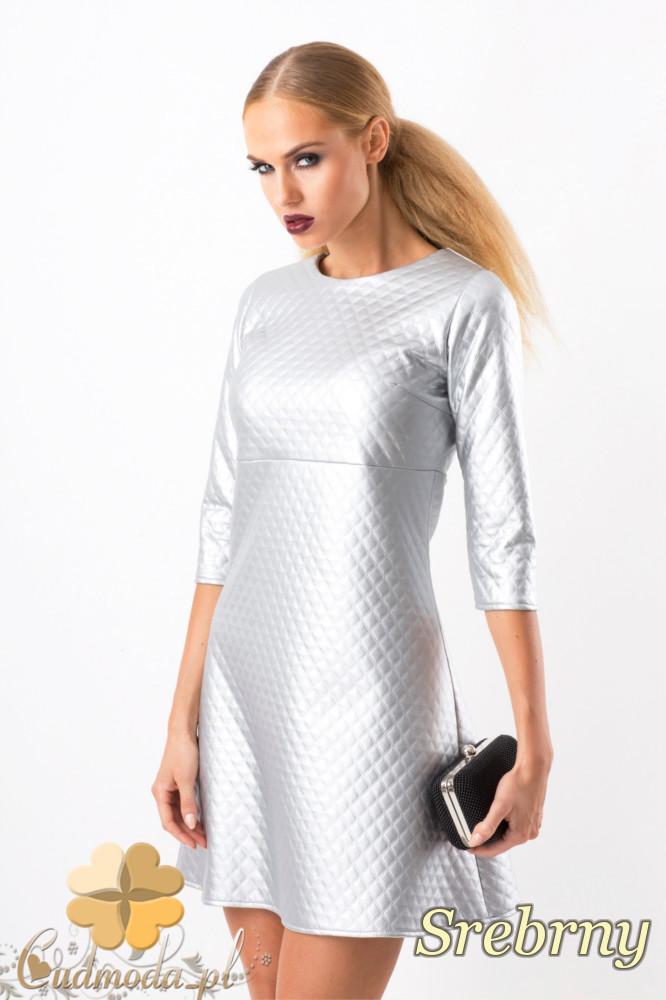 CM1348 Pikowana sukienka trapezowa mini - srebrna