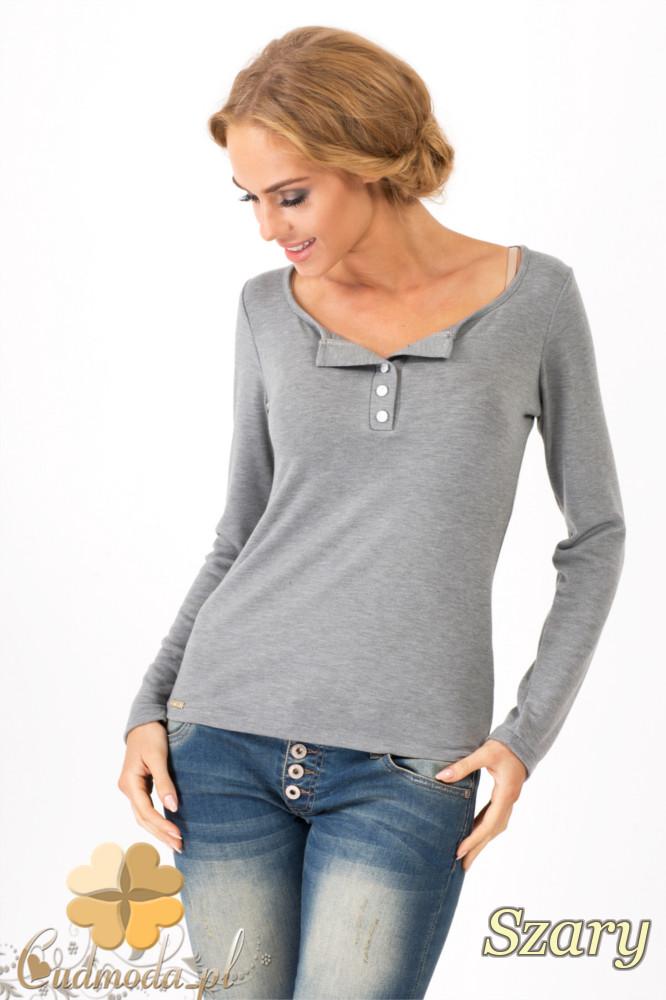 CM1349 Klasyczny sweter damski z długim rękawem - szary