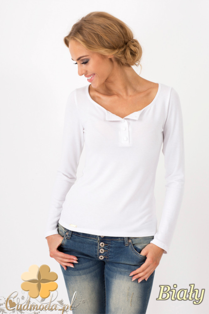 CM1349 Klasyczny sweter damski z długim rękawem - biały