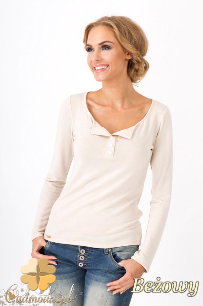 CM1349 Klasyczny sweter damski z długim rękawem - beżowy
