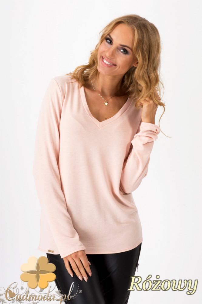 CM1350 Prosty sweterek z dekoltem w serek - różowy